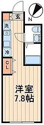 都営新宿線 篠崎駅 徒歩5分の賃貸マンション 2階ワンルームの間取り
