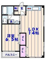 エスポアール海神No2[105号室]の間取り