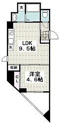 メゾン青空東戸塚 4階1LDKの間取り