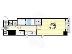 Osaka Metro御堂筋線 淀屋橋駅 徒歩7分の賃貸マンション 4階1Kの間取り