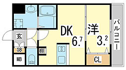 JR東海道・山陽本線 新長田駅 徒歩3分の賃貸マンション 8階1DKの間取り
