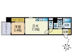 西鉄天神大牟田線 雑餉隈駅 徒歩4分の賃貸マンション 4階1DKの間取り