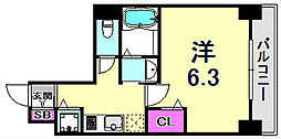 LEGESTA神戸ガーデンパレス 15階1Kの間取り