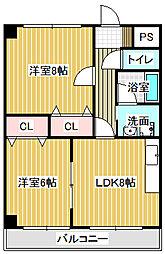 愛知県名古屋市中川区江松2丁目の賃貸マンションの間取り