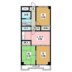 小鶴館[4階]の間取り