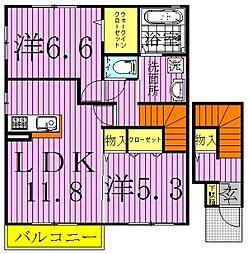 千葉県野田市桜の里3丁目の賃貸アパートの間取り