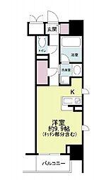 ドゥーエ立売堀 9階1Kの間取り
