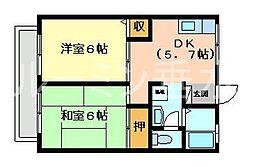 ハイツ中島[1階]の間取り