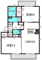 Osaka Metro谷町線 守口駅 徒歩13分の賃貸マンション 3階2LDKの間取り