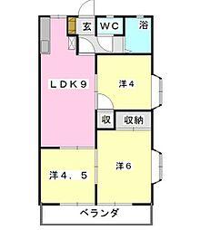 フローラKIKU B[2階]の間取り