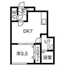 FORTUNA琴似 3階1DKの間取り
