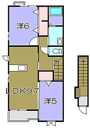 プリート カーサ 2階2DKの間取り