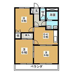 プレステージHAYANO[3階]の間取り