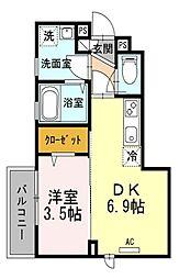 東京都東村山市恩多町3丁目の賃貸アパートの間取り