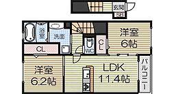 泉北高速鉄道 泉ヶ丘駅 徒歩19分の賃貸アパート 2階2LDKの間取り