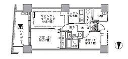 JR山手線 浜松町駅 徒歩3分の賃貸マンション 8階2LDKの間取り