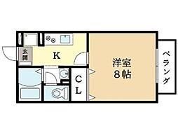 京都府京田辺市三山木谷垣内の賃貸アパートの間取り