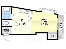 阪急千里線 南千里駅 徒歩25分の賃貸マンション 6階ワンルームの間取り