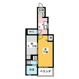 アドーラ木曽川8[1階]の間取り