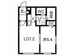 PRIME COURT麻生駅前 4階1LDKの間取り