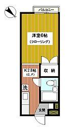 神奈川県横浜市神奈川区中丸の賃貸アパートの間取り