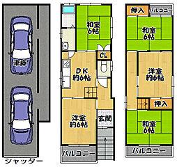 阪堺電気軌道上町線 帝塚山四丁目駅 徒歩9分 5DKの間取り