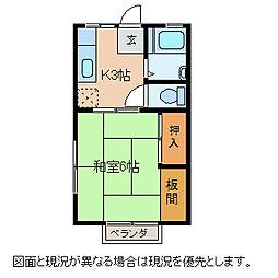 長野県諏訪市城南1丁目の賃貸アパートの間取り
