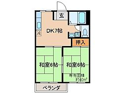 京都府京都市山科区上花山坂尻の賃貸アパートの間取り