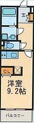 ルシエル東海通サウス 2階ワンルームの間取り