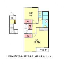 愛知県小牧市下小針天神2丁目の賃貸アパートの間取り