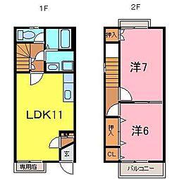 [テラスハウス] 愛知県刈谷市高須町乾 の賃貸【/】の間取り