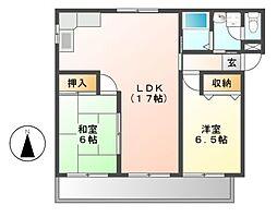 赤坂コーポ南棟[1階]の間取り