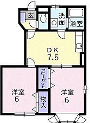 ブライトン2[1階号室]の間取り