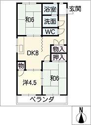 ハイツ稲沢H棟[1階]の間取り