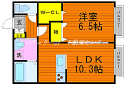 JR宇野線 備前西市駅 徒歩23分の賃貸アパート 1階1LDKの間取り