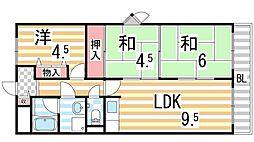 大阪府四條畷市岡山3丁目の賃貸マンションの間取り
