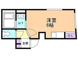 Fleur−S5(フルールS5) 4階ワンルームの間取り