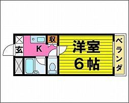 阪急千里線 関大前駅 徒歩15分の賃貸マンション 2階1Kの間取り