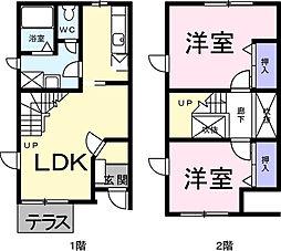 埼玉県川口市大字東本郷の賃貸アパートの間取り