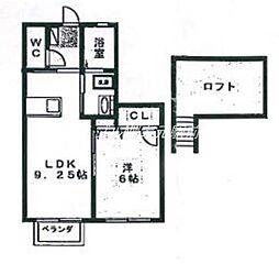 岡山県岡山市北区奉還町3丁目の賃貸アパートの間取り