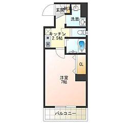 MIYO87 6階1Kの間取り