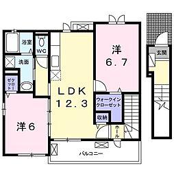 東京都日野市西平山2丁目の賃貸アパートの間取り