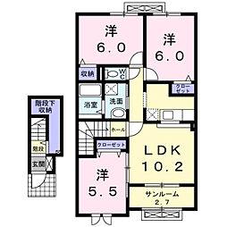 富山県富山市下奥井1丁目の賃貸アパートの間取り