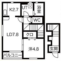 JR奥羽本線 北山形駅 印役寺前下車 徒歩8分の賃貸アパート 2階1LDKの間取り