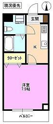長野県松本市村井町西1丁目の賃貸アパートの間取り