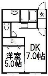 クラリス菊水III[301号室]の間取り