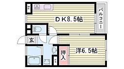 JR東海道・山陽本線 西明石駅 徒歩34分の賃貸アパート 1階1DKの間取り