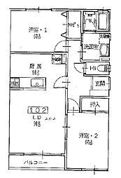 JR山形新幹線 山形駅 バス18分 小白川4丁目下車 徒歩4分の賃貸アパート 2階2LDKの間取り