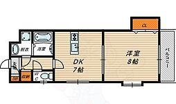 Osaka Metro今里筋線 新森古市駅 徒歩12分の賃貸マンション 2階1DKの間取り