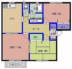 メルベーユ A棟[101号室]の間取り